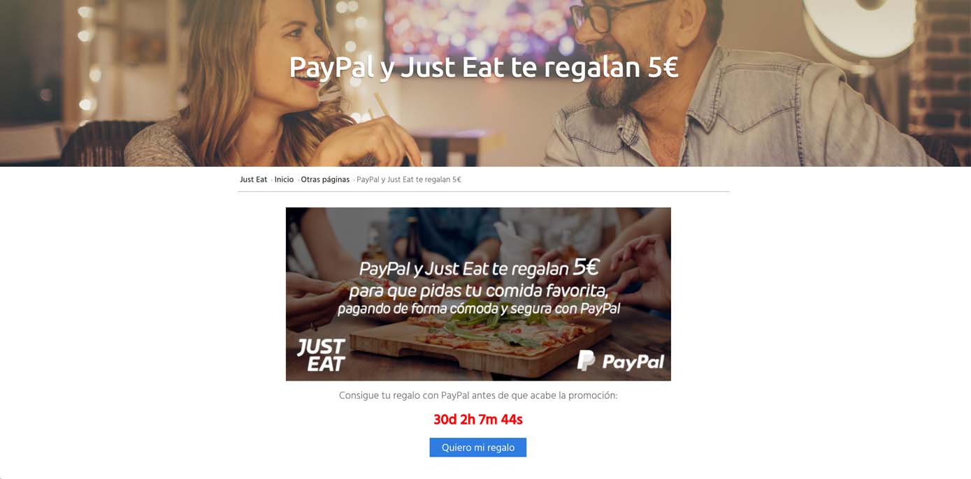 Cupón Just Eat 5€ Paypal